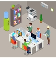 Isometric Office Open Space with Workers vector image