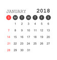january 2018 calendar calendar planner design vector image