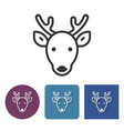 line icon of reindeer in different variants vector image vector image
