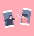 love couple in mobile phone sent hearts vector image vector image