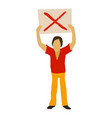 man protest with sign icon cartoon style vector image vector image