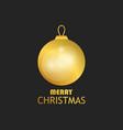 merry christmas golden christmas ball on black vector image