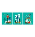 new year 2021 flat scandinavian winter card set vector image