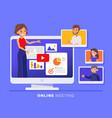 online business team meeting held via a video vector image