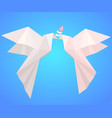 pair of paper origami pigeons with flower symbo vector image vector image