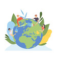 people cleaning earth planet and watering vector image vector image
