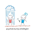 psychoneuropathologist stands next to a nervous vector image vector image