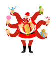 santa claus many hands many gifts for christmas vector image vector image