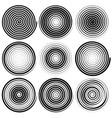 set of 9 spiral elements swirls swooshes vector image
