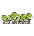 set of trees sketch vector image