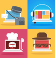 set of white laptop profession vector image