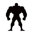 silhouette cartoon bodybuilder isolated on vector image