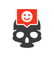skull with happy face in speech bubble colored vector image vector image
