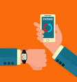 smart watch and mobile phone syncronizing vector image vector image