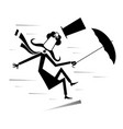 strong wind mustache man with umbrella vector image vector image