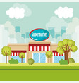 Supermarket building front scene vector image