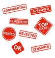 top secret rejected approved classified vector image vector image