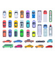 top side view cars auto transport truck and car vector image