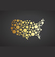 usa united states gold network map graphic vector image vector image