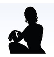 woman silhouette with hand gesture reminding time vector image vector image
