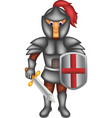 handsome knight cartoon standing with smile vector image