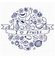 Vintage Doodle Set I Love Fruits vector image