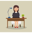 woman sitting desk working laptop office vector image