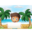 A boy at the beach holding an empty signage with a vector image vector image