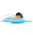 A kid swimming vector image vector image