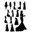 beautiful lady detail silhouette vector image