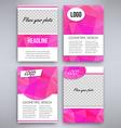 Big set of pink triangular design flyer template vector image vector image