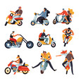 Bikers or motorbike racers on motorcycles and