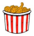 bucket fried chicken design element for poster vector image