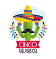 cactus plant with hat and maracas to mexican event vector image