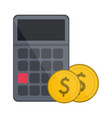 calculator with coins symbol vector image vector image