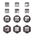 calendar flat icon set vector image vector image