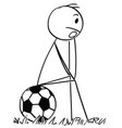 cartoon of sad or depressed football or soccer vector image