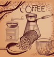 coffee poster with hand drawn coffee mill mug vector image vector image