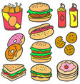 collection stock food various of doodles vector image vector image