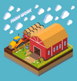 farm work isometric composition vector image vector image