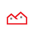 flat red outline real estate logo vector image vector image
