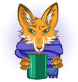 fox with mug in paws vector image vector image