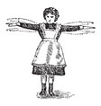 girl waving arms vintage vector image vector image