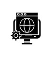 global seo black icon sign on isolated vector image vector image