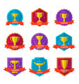 gold champion cup isolated badge set vector image vector image