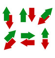 green red arrows in opposite direction up down vector image vector image