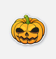 halloween scary pumpkin with evil smile vector image