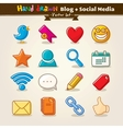Hand Draw Blog And Social Media Icon Set vector image vector image