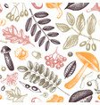 hand sketched autumn plants seamless pattern vector image vector image