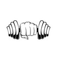 hand with dumbbell dumbbell in fist vector image